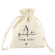 "Leinen Schmuck Beutel ""a gift for you"" Off white"