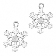 Anhänger Metall Basic Quality Snowflake Silber-weiss