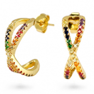 Zirconia Rainbow Creolen Cross Gold