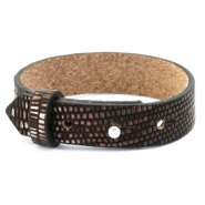 Cuoio Armband 15mm Leder Croco für 20mm Cabochon Hickory brown-silver