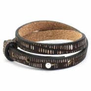 Cuoio Armband 8mm doppel Leder Croco für 12mm Cabochon Hickory brown-silver