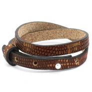 Cuoio Armband 8mm doppel Leder Croco für 12mm Cabochon Colonial brown-gold