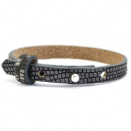 Cuoio Armband 8mm Leder Croco für 12mm Cabochon Anthracite-silver