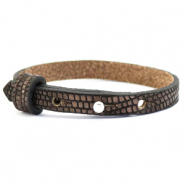 Cuoio Armband 8mm Leder Croco für 12mm Cabochon Hickory brown-silver