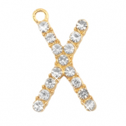 Anhänger Metall Basic Quality Strass Initiale X Gold