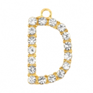 Anhänger Metall Basic Quality Strass Initiale D Gold