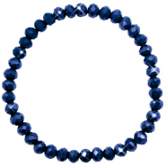 Facetten Glas Armband 6x4mm Evening blue-pearl shine coating