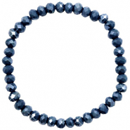 Facetten Glas Armband 6x4mm Dark blue-pearl shine coating