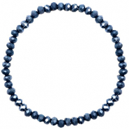 Facetten Glas Armband 4x3mm Dark blue-pearl shine coating