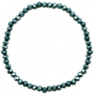 Facetten Glas Armband 4x3mm Dark eden green-pearl shine coating