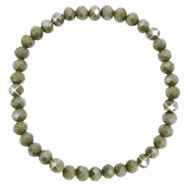 Facetten Glas Armband 6x4mm Olive green-pearl shine coating