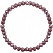 Facetten Glas Armband 6x4mm Rocky road brown-pearl shine coating