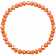 Facetten Glas Armband 6x4mm Rust orange-pearl shine coating