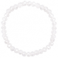 Facetten Glas Armband 6x4mm White opal-pearl shine coating