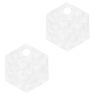 Anhänger aus Resin Hexagon Bright white