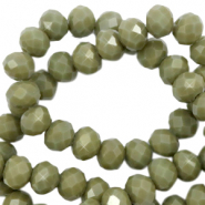 Facetten Top Glas Perlen 4x3mm Rondellen Dusty olive green-pearl shine coating