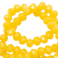 Facetten Top Glas Perlen 4x3mm Rondellen Sunshine yellow-pearl shine coating