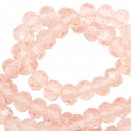 Facetten Top Glas Perlen 4x3mm Rondellen Peachy rose-pearl shine coating