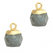 Anhänger Naturstein Hexagon Fossil grey-gold