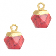 Anhänger Naturstein Hexagon Red marble-gold