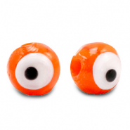 Glas Perlen 8 mm Nazar Auge Orange