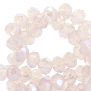 Facetten Top Glas Perlen 4x3mm Rondellen Blushed beige rose-pearl shine coating