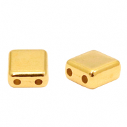 Perlen Metall DQ Duo Beads Square Gold (Nickelfrei)