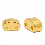 Perlen Metall DQ Duo Beads half Moon Gold (Nickelfrei)