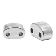 Perlen Metall DQ Duo Beads half Moon Antik silber (Nickelfrei)