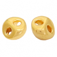 Perlen Metall DQ Duo Beads lentil Gold (Nickelfrei)