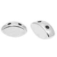 Perlen Metall DQ Duo Beads Oval Antik silber (Nickelfrei)