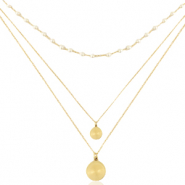 Stainless Steel - Rostfreiem Stahl Kette 3 Layer Coin & Pearl Gold