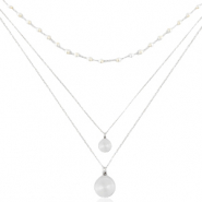 Stainless Steel - Rostfreiem Stahl Kette 3 Layer Coin & Pearl Silber
