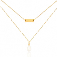 Stainless Steel - Rostfreiem Stahl Kette 2 Layer Pearl Gold