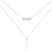 Stainless Steel - Rostfreiem Stahl Kette 2 Layer Pearl Silber