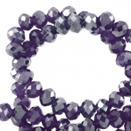 Facetten Top Glas Perlen 6x4mm Rondellen Grape purple-pearl shine coating