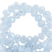 Facetten Top Glas Perlen 4x3mm Rondellen Ice blue-pearl shine coating
