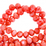 Facetten Top Glas Perlen 6x4mm Rondellen Fiery red-pearl shine coating