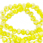 Facetten Top Glas Perlen 4x3mm Rondellen Blazing yellow-pearl shine coating