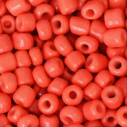 Rocailles Perlen Glas 6/0 (4mm) Neon coral orange