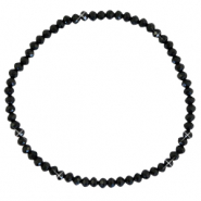 Facetten Glas Armband 3x2mm Black-pearl shine coating