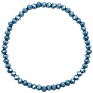 Facetten Glas Armband 4x3mm Peacoat blue-pearl shine coating