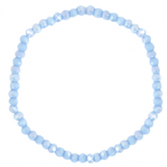 Facetten Glas Armband 4x3mm Lavender blue-pearl shine coating