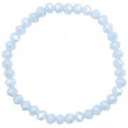 Facetten Glas Armband 6x4mm Ice blue-pearl shine coating