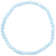 Facetten Glas Armband 4x3mm Ice blue-pearl shine coating