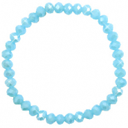 Facetten Glas Armband 6x4mm Crystal blue-pearl shine coating