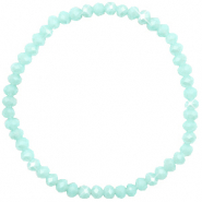Facetten Glas Armband 4x3mm Clearwater blue-pearl shine coating