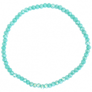 Facetten Glas Armband 3x2mm Light teal green-pearl shine coating