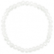Facetten Glas Armband 6x4mm White-pearl shine coating