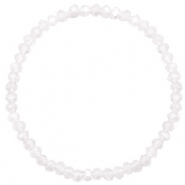 Facetten Glas Armband 4x3mm White-pearl shine coating